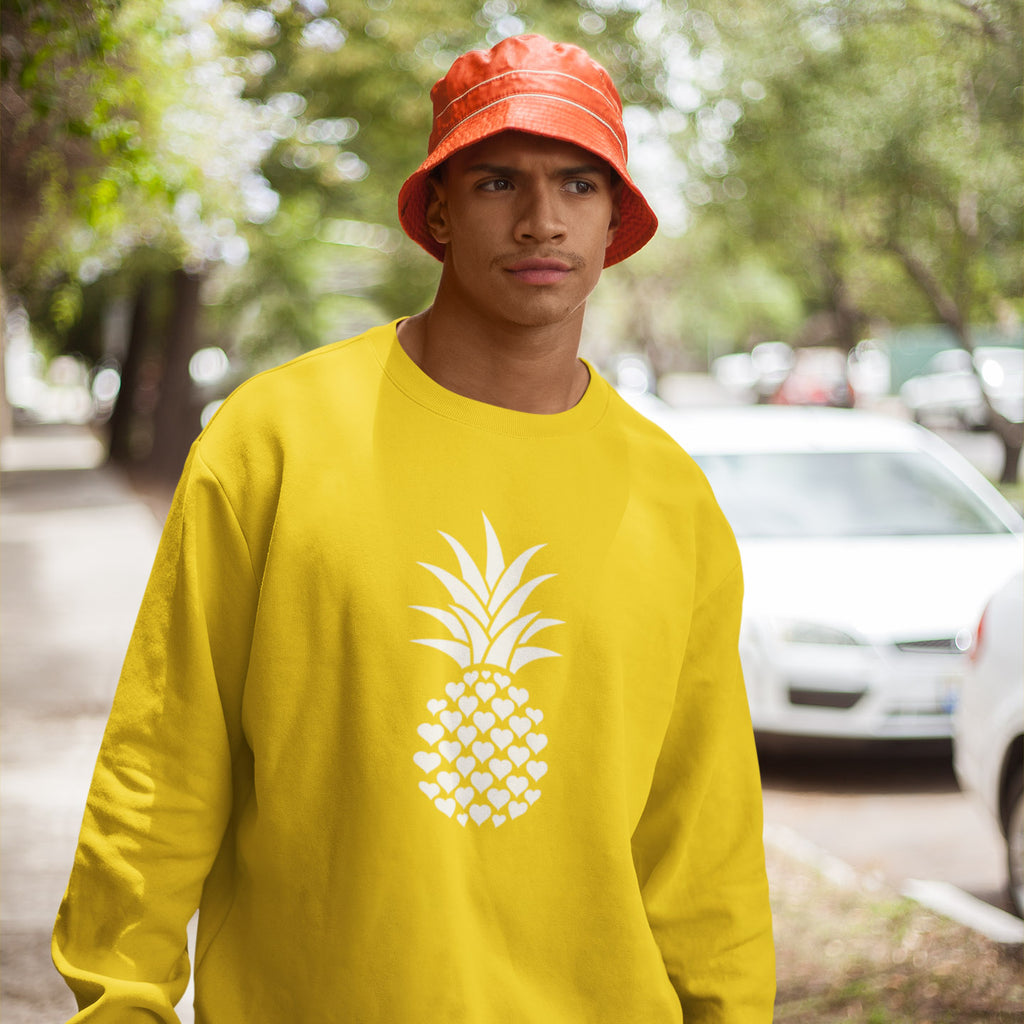 Heart of Pineapple Men's Crewneck Sweater - THE PINEAPPLE EVERYTHING