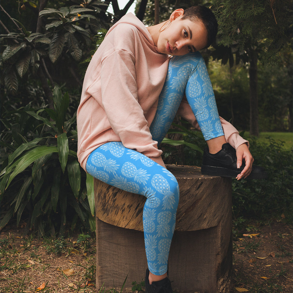 Geometric Pineapple Leggings (Sky Blue) - Happy Pineapple Co.