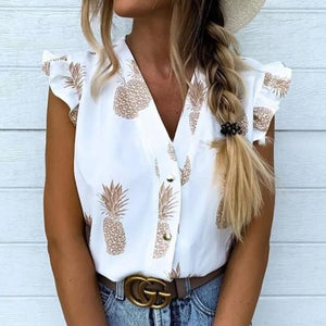 Southern Charm Pineapple Blouse (Short Sleeved) - The Pineapple Everything