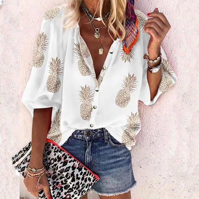 Southern Charm Pineapple Blouse (Loose Sleeved) - The Pineapple Everything