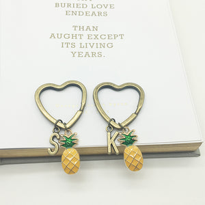 Pineapple Love Initial Keychain