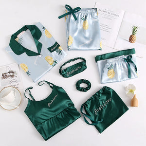 Silky Pineapple Sleepwear Set (7pcs) - The Pineapple Everything