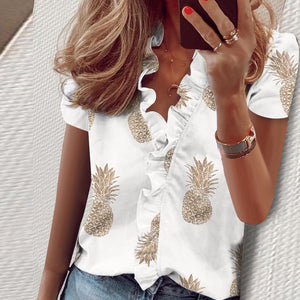 Southern Charm Pineapple Ruffle Blouse - The Pineapple Everything