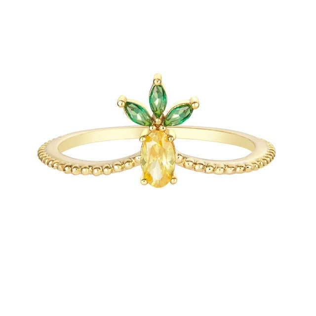 Pineapple Crystal Pendant Ring - Happy Pineapple Co.