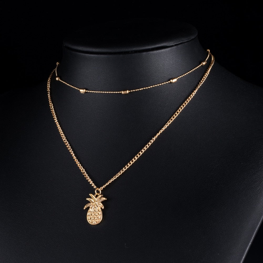 Double Chain Pineapple Necklace - The Pineapple Everything