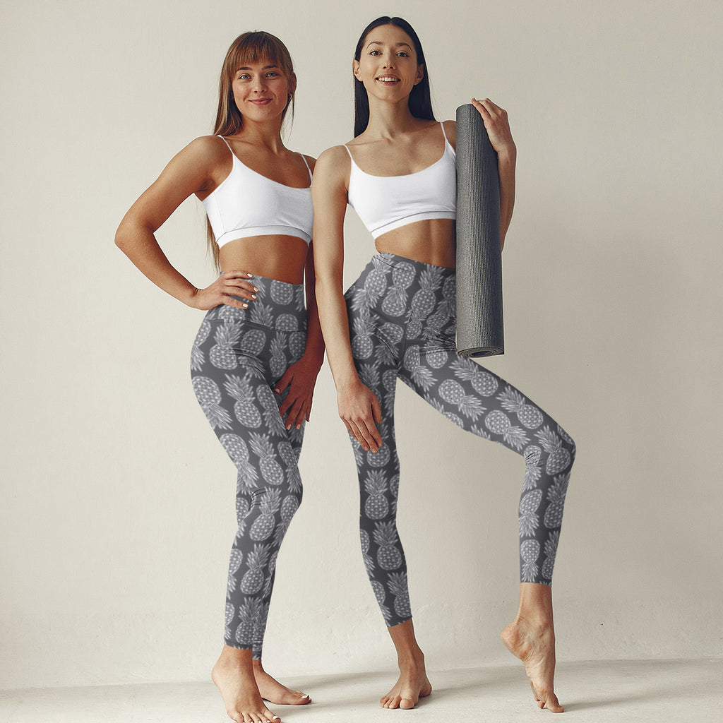 Geometric Pineapple Leggings (Gray) - THE PINEAPPLE EVERYTHING