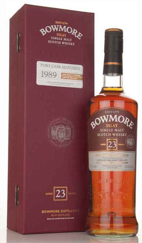 Bowmore Islay Single Malt Scotch Whisky 23 Years Old Port Cask Matured 1989