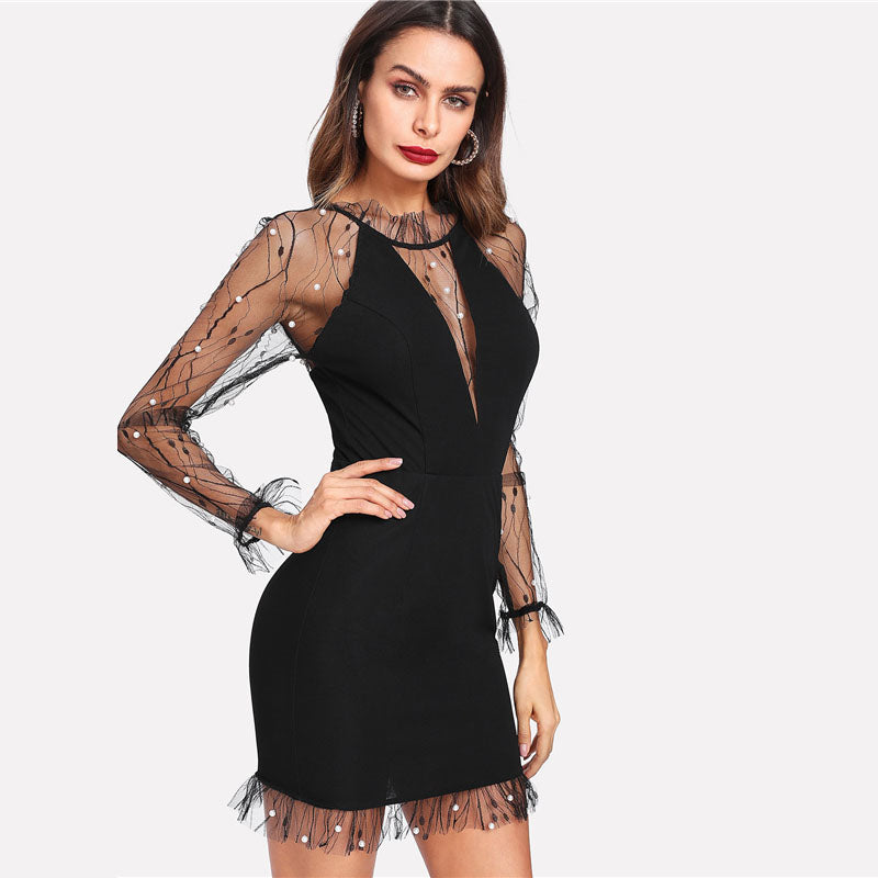 Black Pearl Beading Mesh Dress