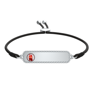 Crimzon with Liv Black Cord ID Bracelet - Silver