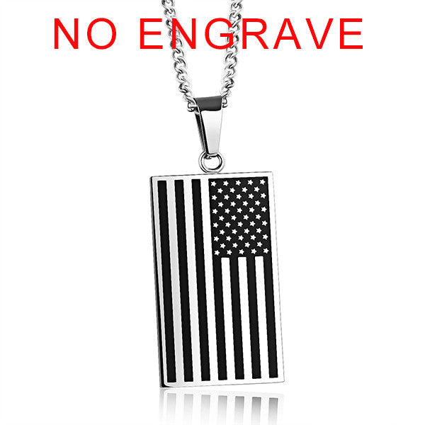 American Flag Mens Necklace Engraveable Tag