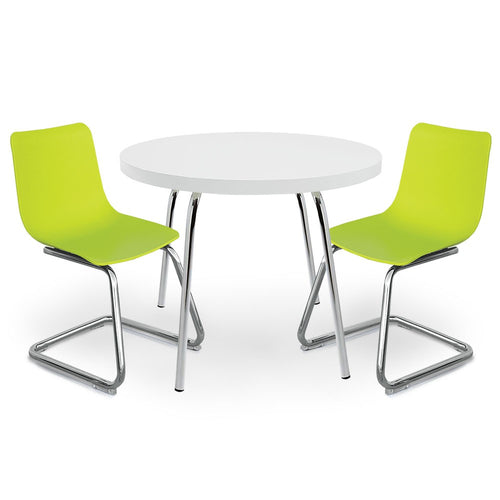 White Round Table For Kids And Green Chairs