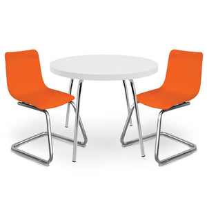 White Round Table For Kids And Orange Chairs
