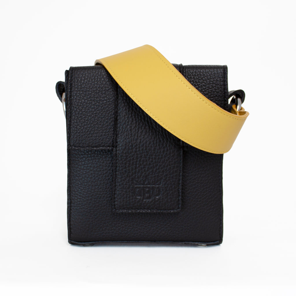 Yellow and black leather handbag and strap. Customise your handbag. Vegetable tanned Italian leather and all other European materials. Made in Europe and designed in Ireland.