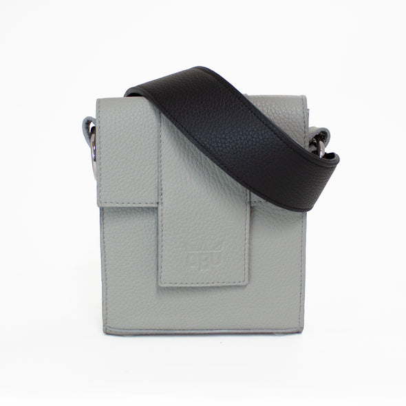 Grey bag, black strap. Customise your bag. Greyscale. Perfect for going out. Made in Scotland and Ireland.
