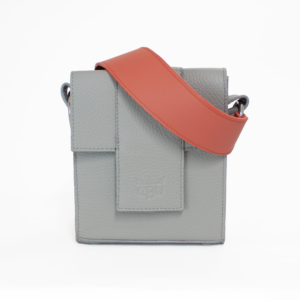 Coral and grey handbag. Beautiful colours. Coloured straps. Italian zero-impact leather. Fits your essentials. Made to last. Scottish made, Irish designer.