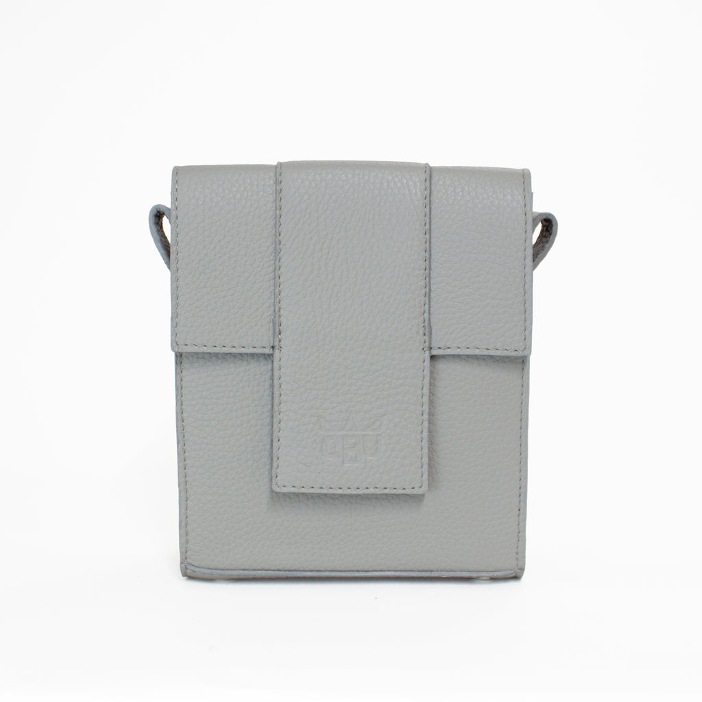 Cool grey bag. Luxury Italian leather. Perfect size for every day. Irish and Scottish made.