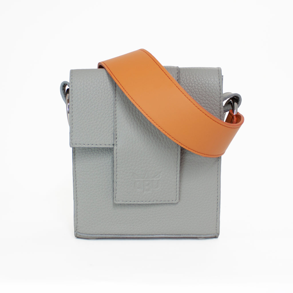 Orange and grey leather. Luxury summer bag. Design your own. Choose a coloured strap. Designed in Ireland, made in the UK. European materials including soft Italian leather.