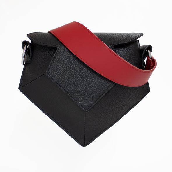 Black and red pentagon shaped handbag. A sexy handbag for any night out. Created from ethically sourced materials, all from Europe.