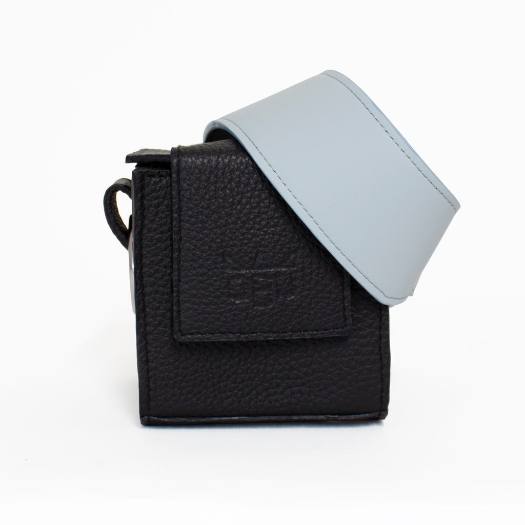 Italian black leather small handbag. Cute cube. Designed in Ireland, made in Scotland. European materials and manufacture.