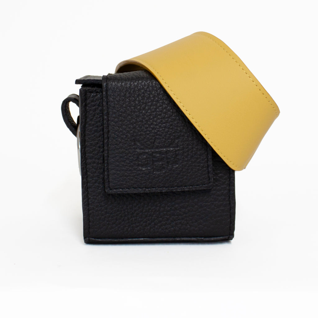 Gorgeous black and yellow colour combination from new Irish accessories brand QBU. All European materials including Italian veg-tan leather. Made in small batch production runs in Scotland.