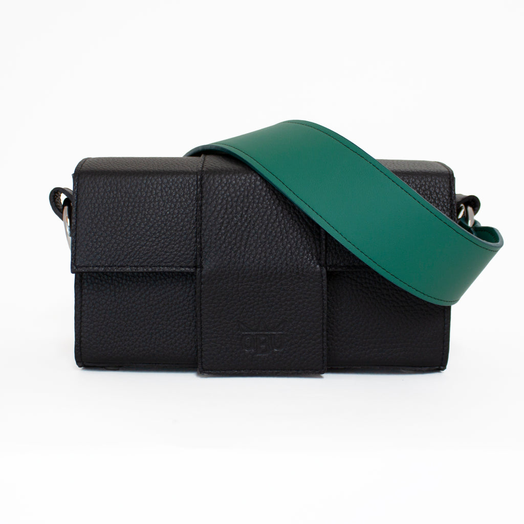 Kelly Kania Handeldiss bag in black with a green strap. New customisable handbag brand QBU based in Ireland. All materials and manufacturers are European.