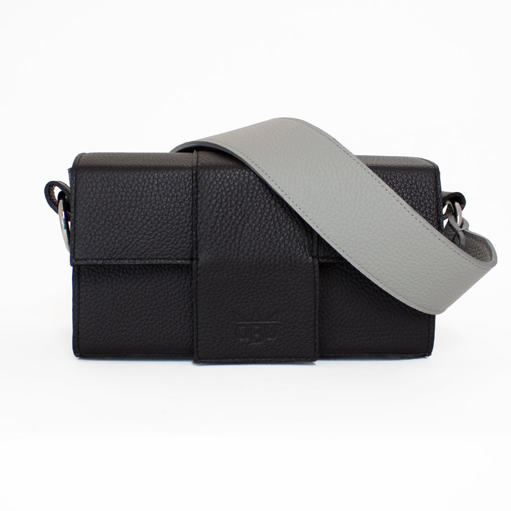 Black Italian leather handbag with grey strap. Design your own bag with new Irish brand QBU.