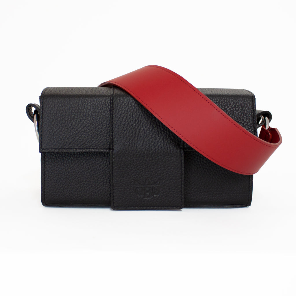 Red and black leather handbag design. Create your own, choose your own strap. Rectangular handbag shape. Edgy design. Designed in Connemara, made in Scotland.