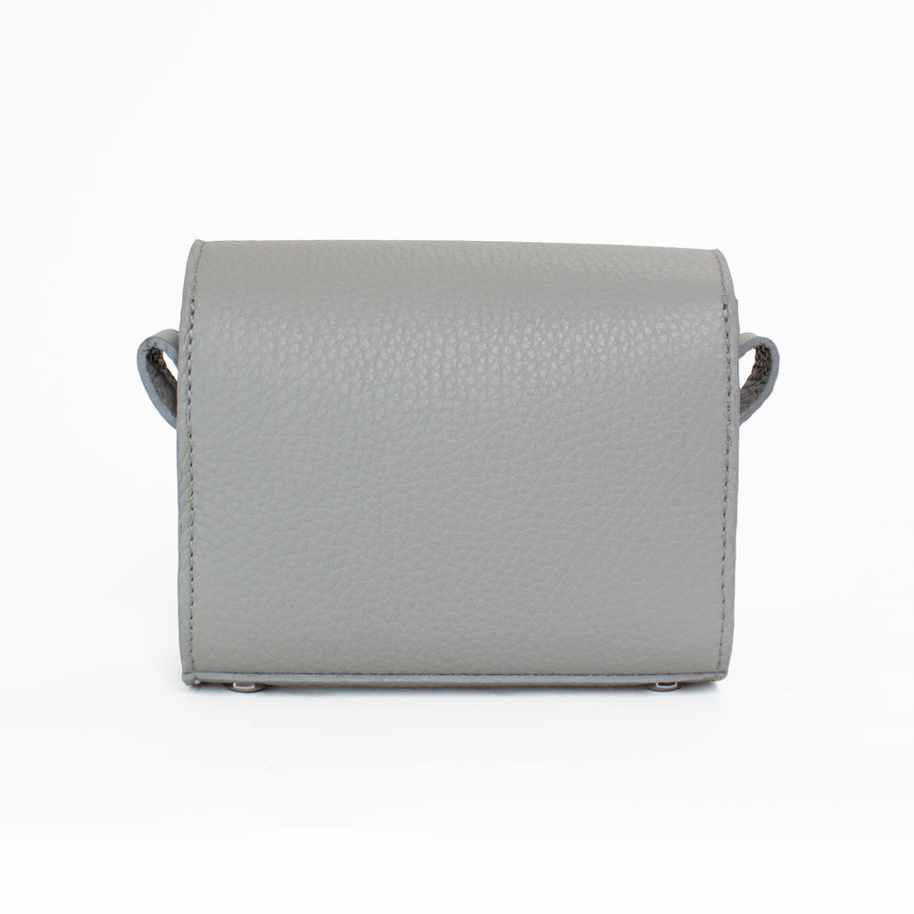 Back view of small grey leather QBU bag. Irish design and made in the UK. Zero-impact Italian leather.