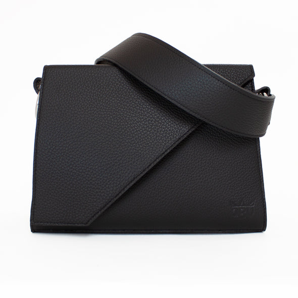 Large black leather handbag. Fits an ipad, kindle, water and all your bits. Perfect for running in and out of work.