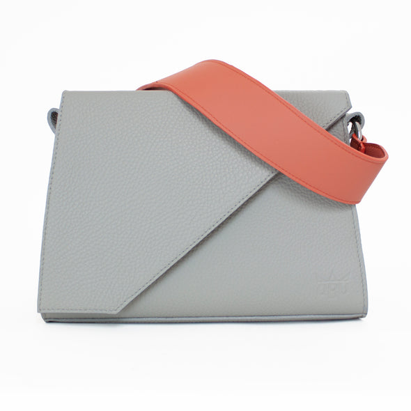 Large light grey handbag with customisable strap from new Irish accessories brand QBU.