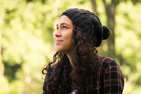 The Aspen Hat is a great hat knitting pattern for beginners.  It's a quick easy knit for those new to knitting cables
