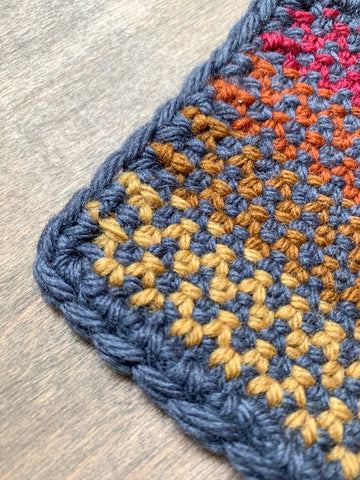 two color linen stitch knitted coaster