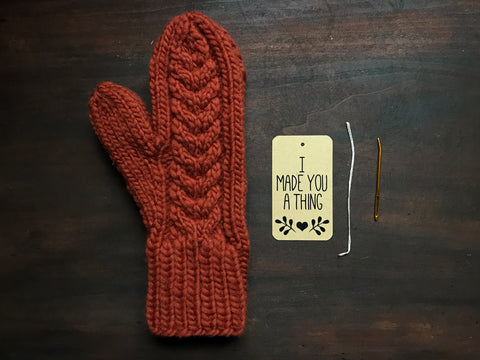 How to attach a gift tag to a hand knit item