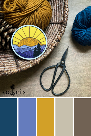 Earthy autumn color scheme inspired by the palette of my knitted mountains knitting sticker.