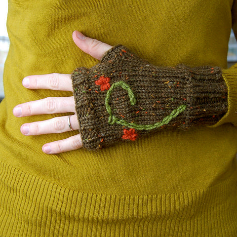olive green fingerless mitten with flower embroidery