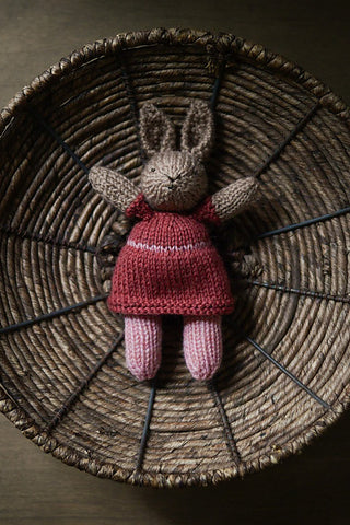 knitted bunny rabbit in a dress