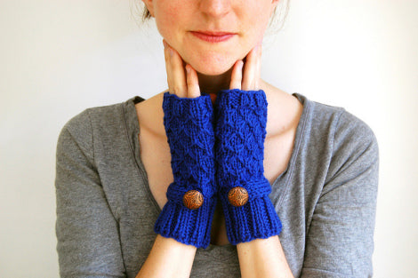 bright blue fingerless mittens