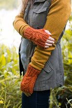 The Aspen Mittens - chunky cable fingerless mitten knitting pattern