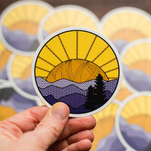 laptop or water bottle Knitting Sticker with mountains and sunset