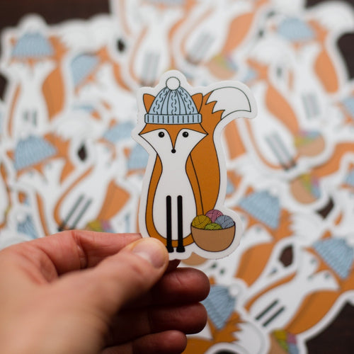 Fox knitting sticker - vinyl animal sticker by adKnits