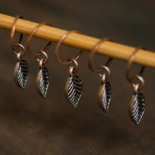 Antique copper fall leaf stitch markers for knitting by adKnits