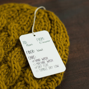 Knitters gonna knit gift tags, knitting care tags