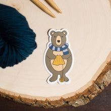 Bear with scarf vinyl knitting sticker by adKnits