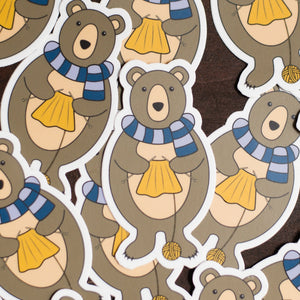 Bear Knitting Sticker
