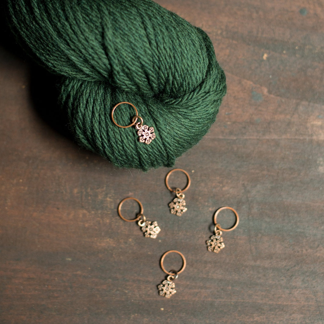antique copper snowflake stitch markers for knitting