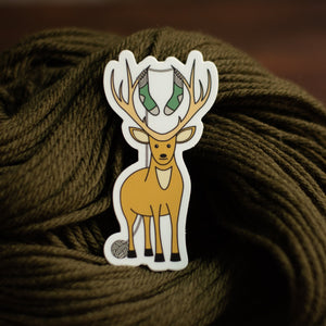 Deer knitting sticker by adKnits - vinyl animal wildlife sticker