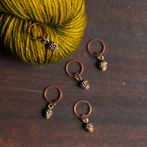 Antique copper pinecone stitch markers for knitting by adKnits