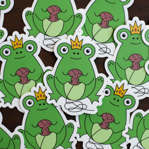 Frog Queen Vinyl Knitting Sticker by adKnits