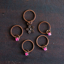 Antique copper spring flower and pink bead stitch markers for knitting by adKnits