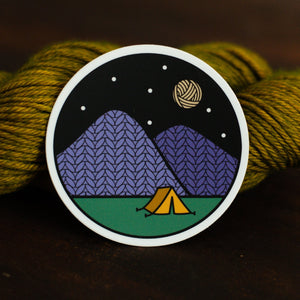 Night Camping Knitting Sticker